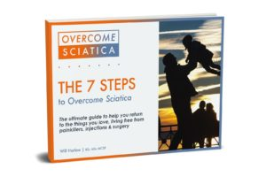 Cover for the 7 steps to overcome sciatica, the complete guide on how to get rid of sciatica. The perfect next step after reading the article about bulging disc recovery time
